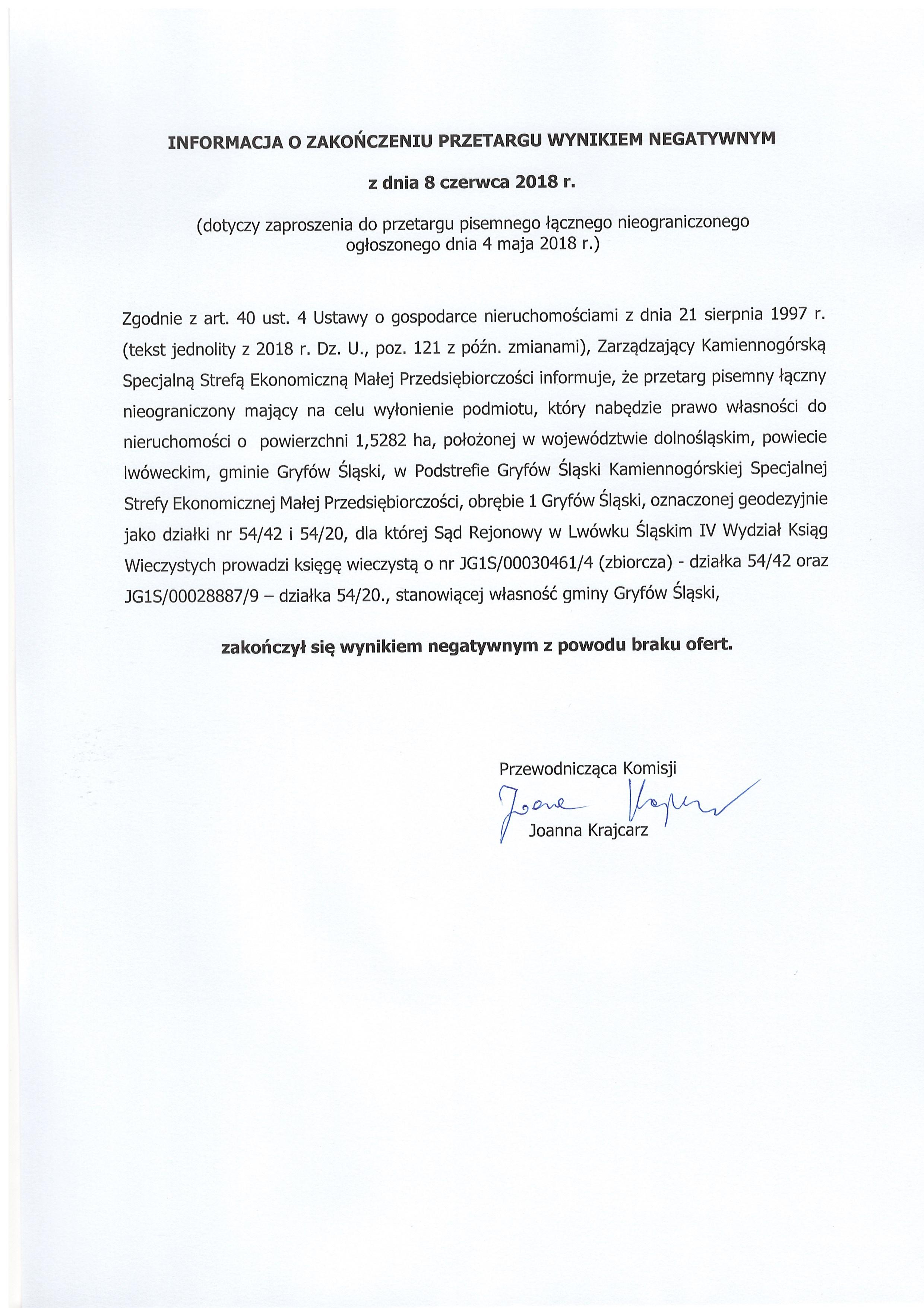 08.06.2018 informacja o zakończeniu przetargu