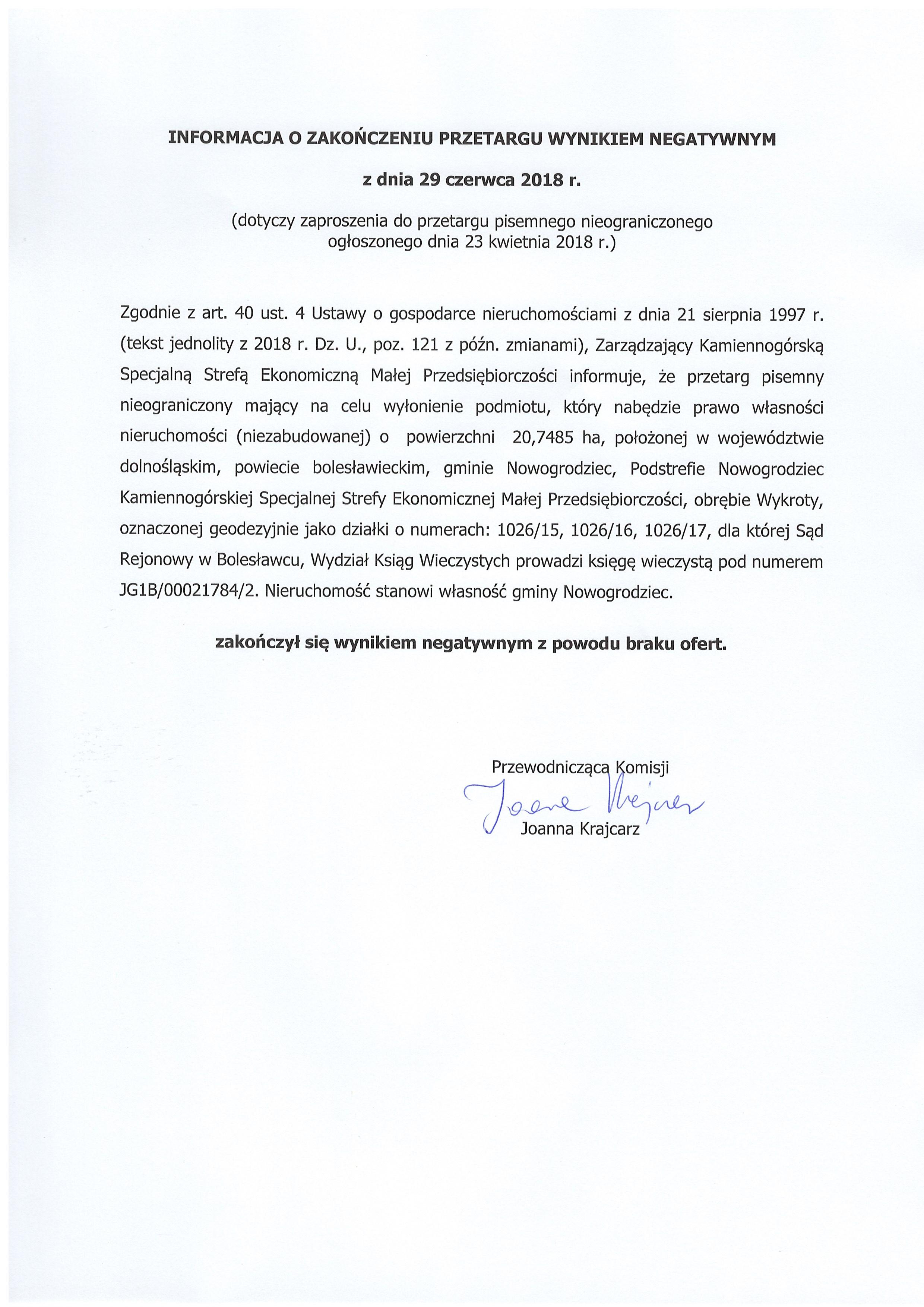 29.06.2018 r. Informacja o zakończeniu przetargu - brak ofert