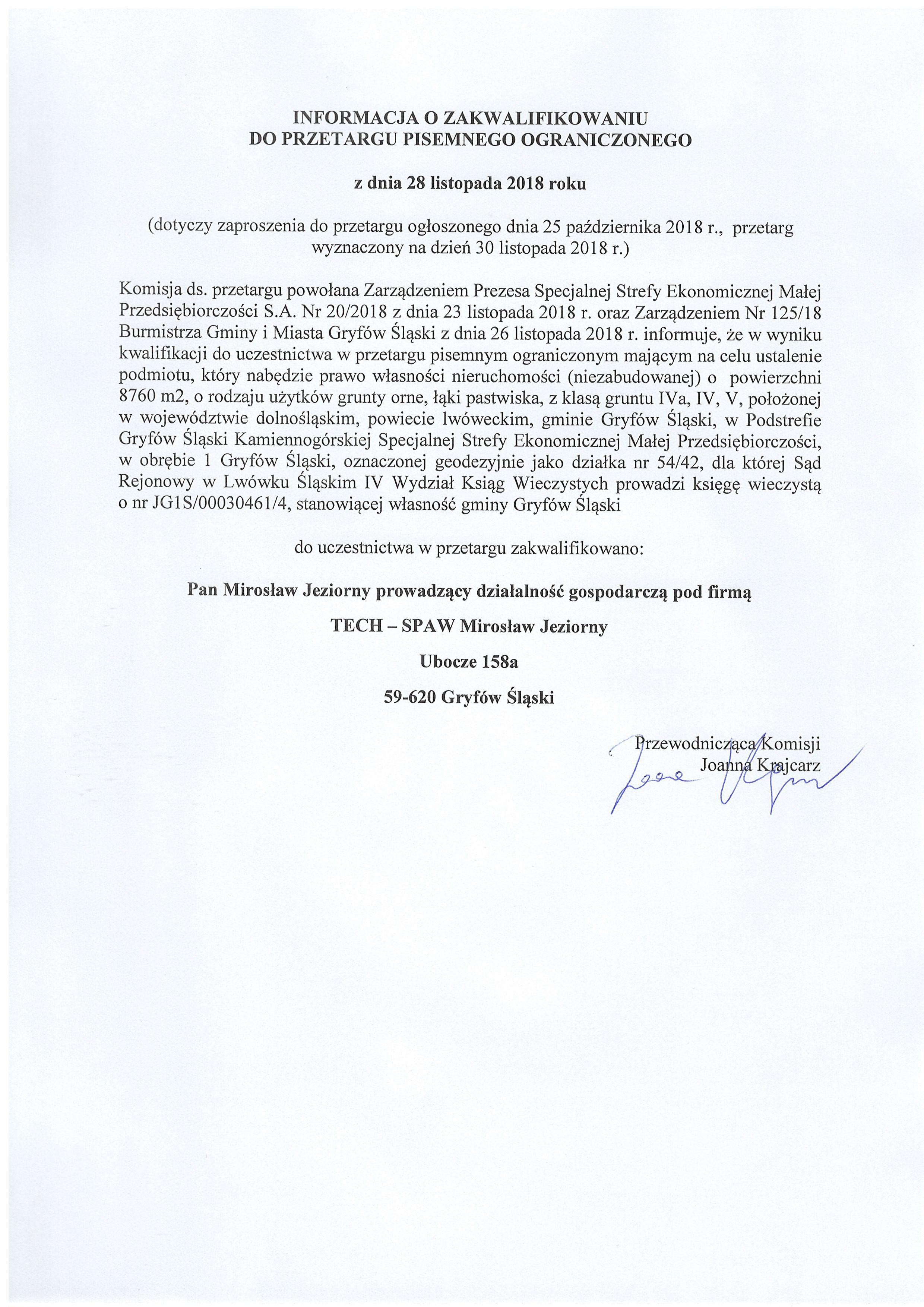 28.11.2018 informacja o zakwalifikowaniu do przetargu