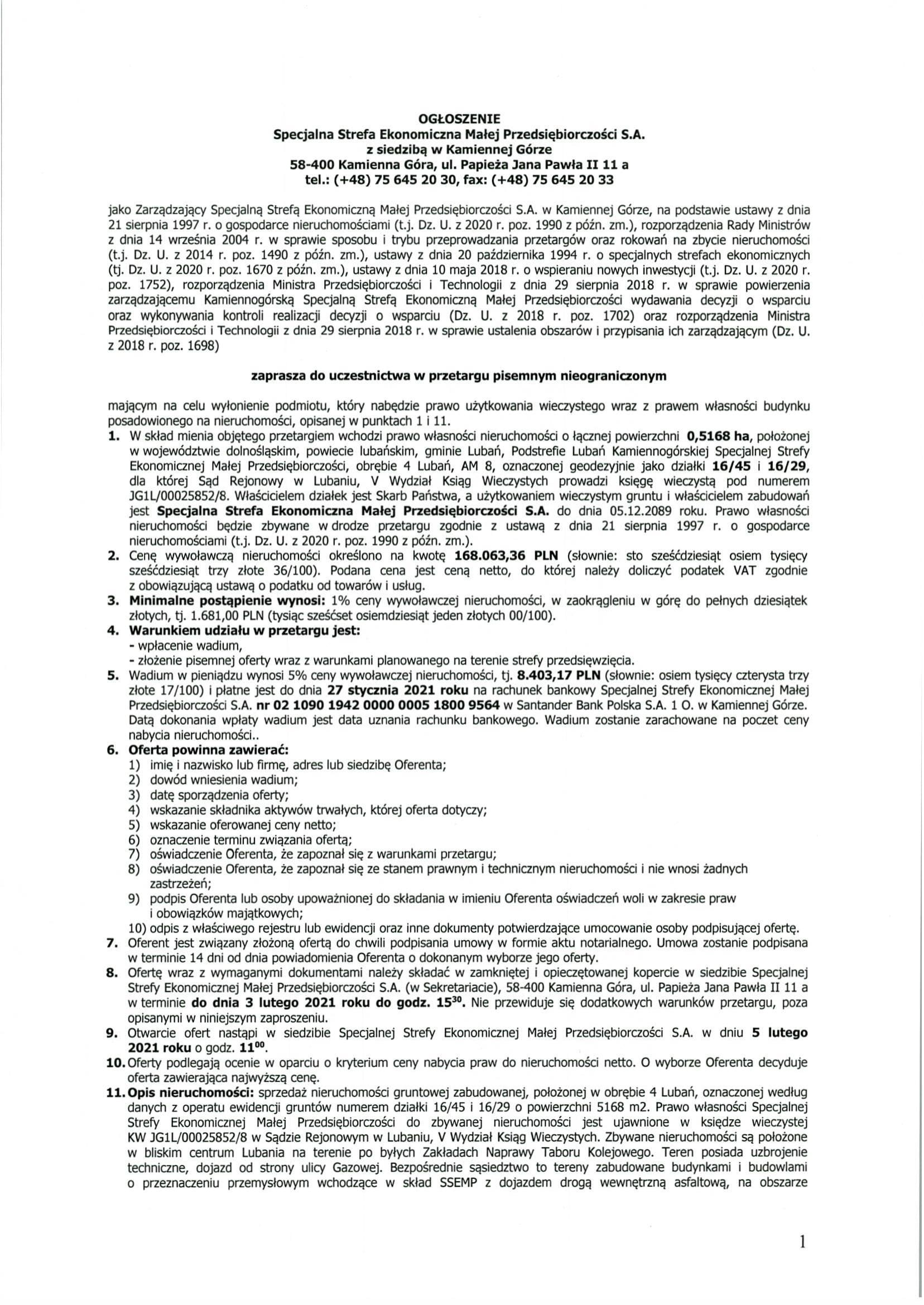 18.01.2021 - KSSEMP Ogłoszenie na zbycie nieruchomości w Lubaniu-1