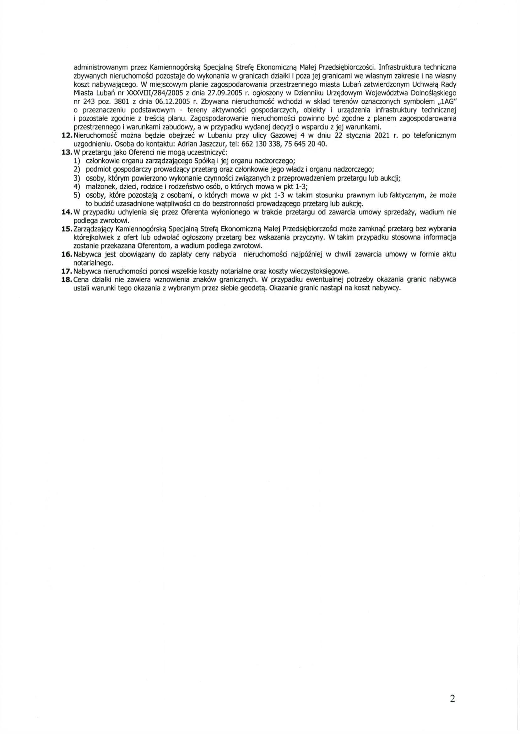 18.01.2021 - KSSEMP Ogłoszenie na zbycie nieruchomości w Lubaniu-2